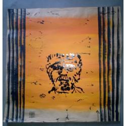 Tonizzo (jean marc) acrylique sur papier kraft. Portrait